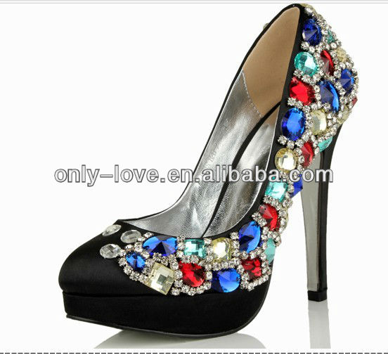BS589 black platform pumps with colourful crystals evening shoes