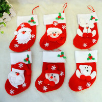 Xmas decoraton 9*17cm Christmas Sock Decorations Tableware Holders Candy Pouch Bag