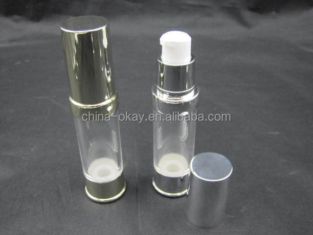 New design shiny silver bottom and lid plastic lotion pump bottle