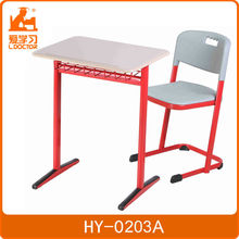Top quality college wooden single school desk and chair