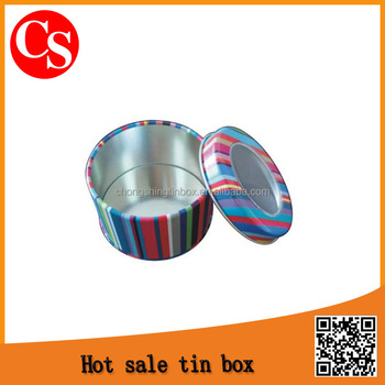 Round Small Metal Tin Box with clear Window