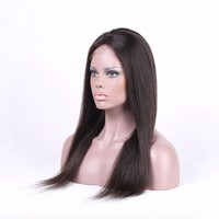 Natural color hair wig unprocessed raw indian hair natural hair wig with brown lace