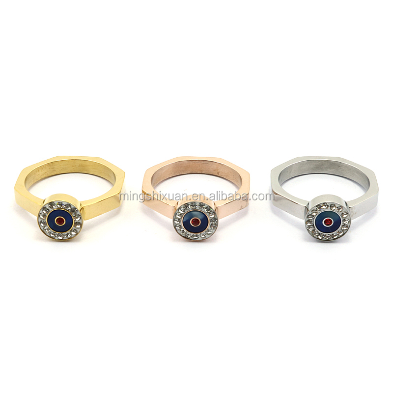 Bezel setting stainless steel ring with CZ with yellow gold plating fashion ring