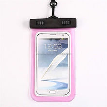 Stylish custom moisture proof clear PVC mobile phone cellphone smartphone waterproof pouch with neck strap