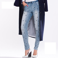 new fashion model ladies embroidered long jeans pants for sale