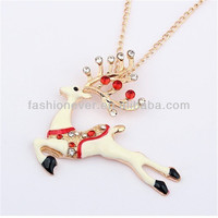 Fashion Long Golden Chain Dazzling Rhinestone Sika deer Women's Costume Necklace