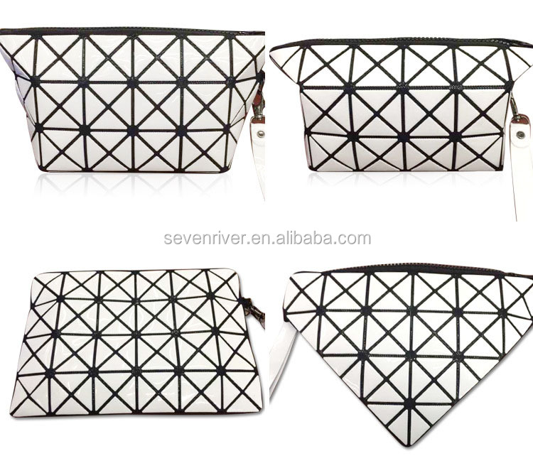 Hot popular geometry design changeable shape cosmetic makeup pouch bag