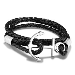 Marlary Custom Italian Handmade Stainless Steel Black Anchor Bracelet Leather For Men Luxury