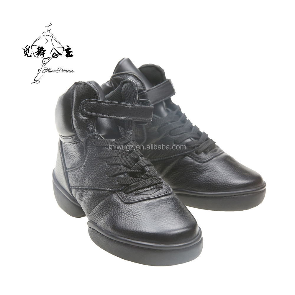 Wudie Women's Customize Logo Leather Black Dance Shoes Sneakers Shoes