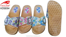 Raw Material To Manufacture Woman Slipper,Beautiful flower pattern on Upper With Buckle,tropical Sumer Ladies Beach Slippers