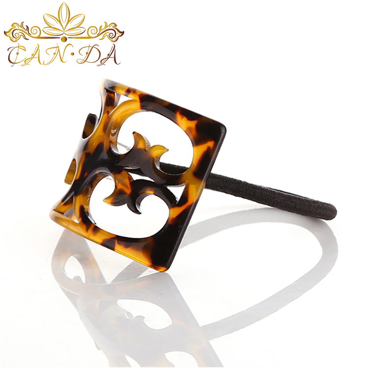 Retro chinese style traditional hollow out carving amber color cellulose acetate elastic hair bands for girls