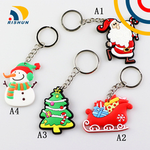 Santa Claus Christmas tree Promotional gift 2D/3D PVC Keychain custom soft keychains peisonalized design logo rubber key ring