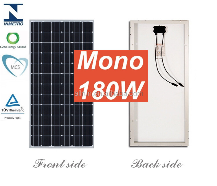 HIGH EFICIENT MCS CE TUV IEC APPROVED 180w mono polycrystalline solar module