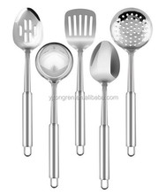 Stainless steel 5 pieces cooking dinning utensils serving set with spoon turner skimmer