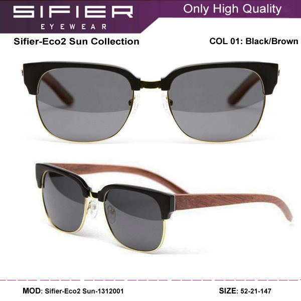 2014 Fashion Brand New Wood Temples Sunglasses Polarized