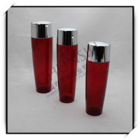 100ml plastic Semi transparent red color pet cosmetic water bottle with shinny silver cap