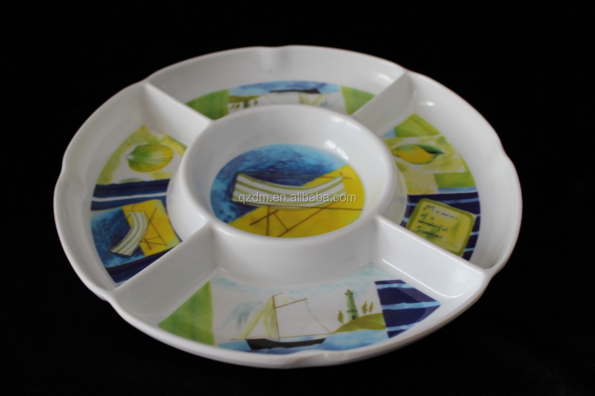 melamine chip/ divided 5- section round plate