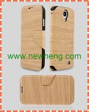 Wood grain wallet PU leather phone case for Samsung Galaxy S4 i9500