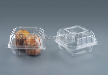 OPS clear plastic hinged cake clamshell packaging container square