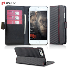 Rfid Blocking carbon fiber wallet mobile phone folio case for iphone 8, pu leather case cover flip