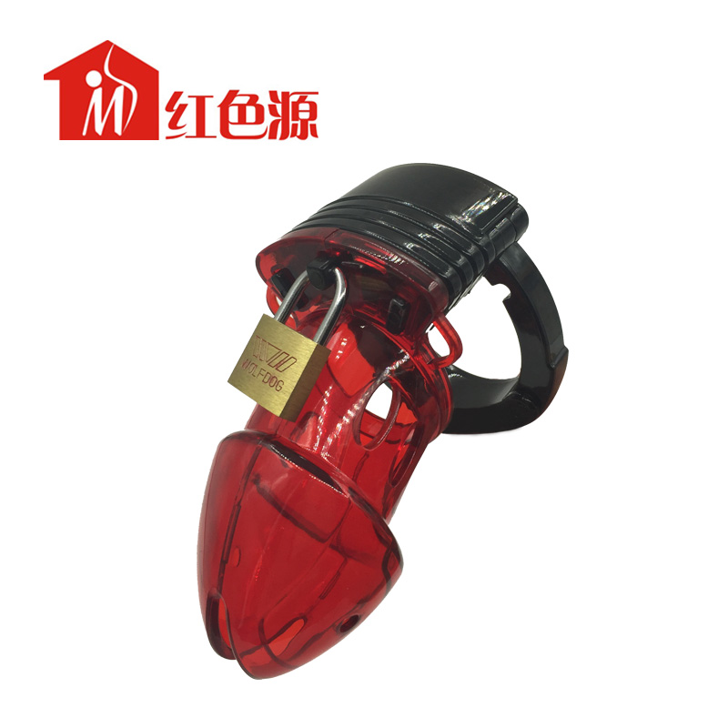 Sex tools for man black and red transparent chastity device silicone cock cage