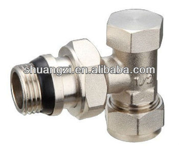 Brass Straight Radiator Valves Nickel Lockshield