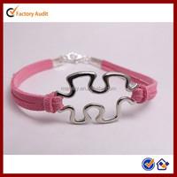 Wholesale Leather Cord Autism Awareness Bracelets