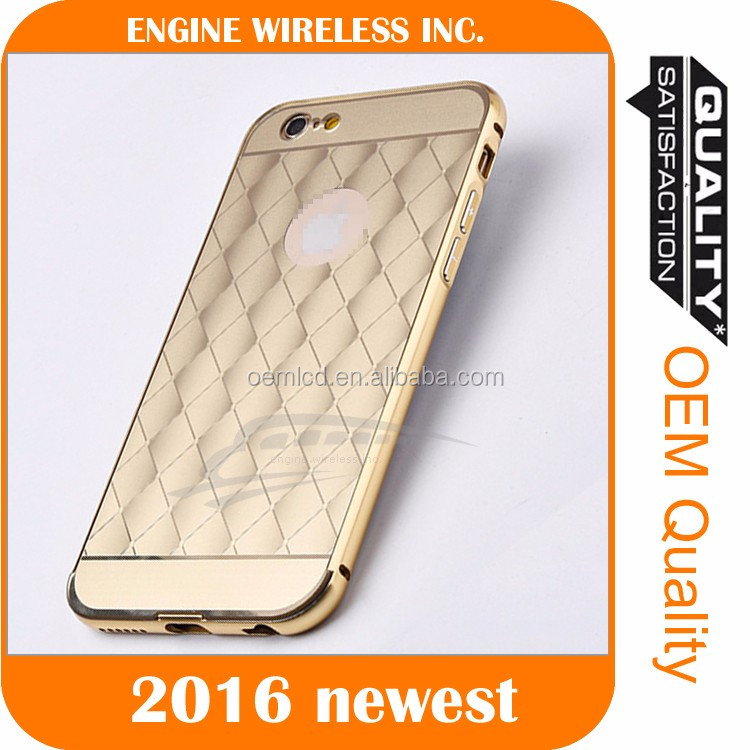 Hot Aluminum Metal Frame Bumper + PC Mirror Back Case Cover For iPhone 6 6S Plus