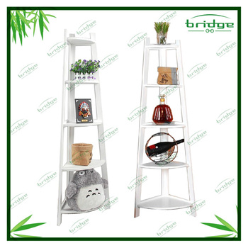 5-tier bamboo furniture corner shelf householder Storage Holders flower shelf