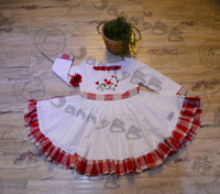 Red and White Linen Fabric Baby & Toddler Girls Christmas Smocked Dress