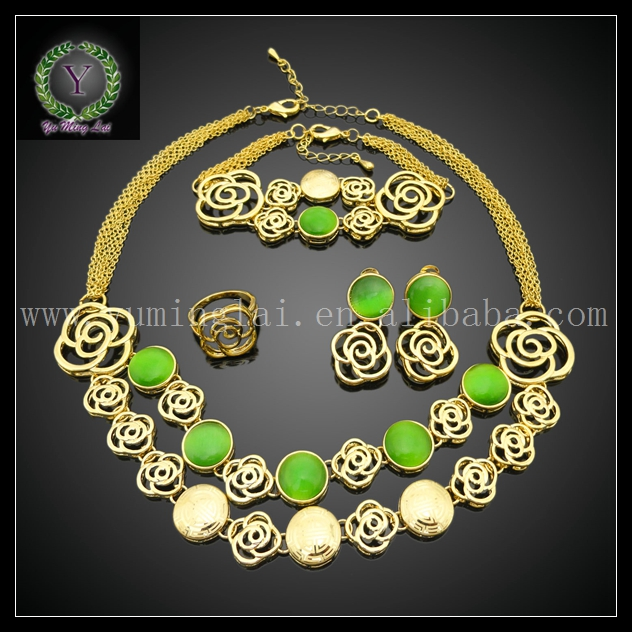 African 24K gold plated green crystal costume jewelry sets