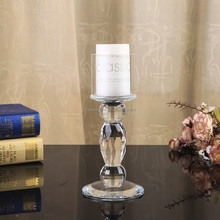 new design small table use beaded glass clear candle stands for weddings
