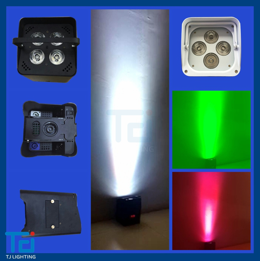 case in black led battery face uplight 6in1 UV wireless remote control par light