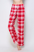 Overstock Clearance Ladies Soft Red Fleece Checked Plaid Pajama Pants