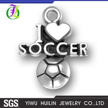 CN186482 Yiwu Huilin jewelry Wholesale I Love Soccer Charms Antique Tibetan silver soccer letter charm pendants