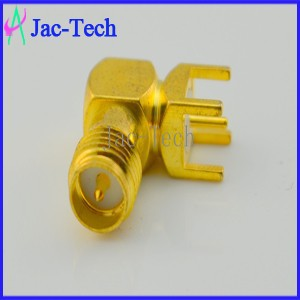 Coaxial connector brass material RP-SMA jack for PCB mount 90 degree cable rf connector