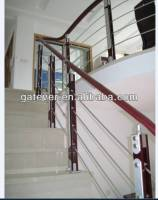 Stainless steel wood interior cable railing/indoor glass stair railings