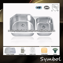 Granite Under Mount Double Kitchen Sink With Unequal Bowl