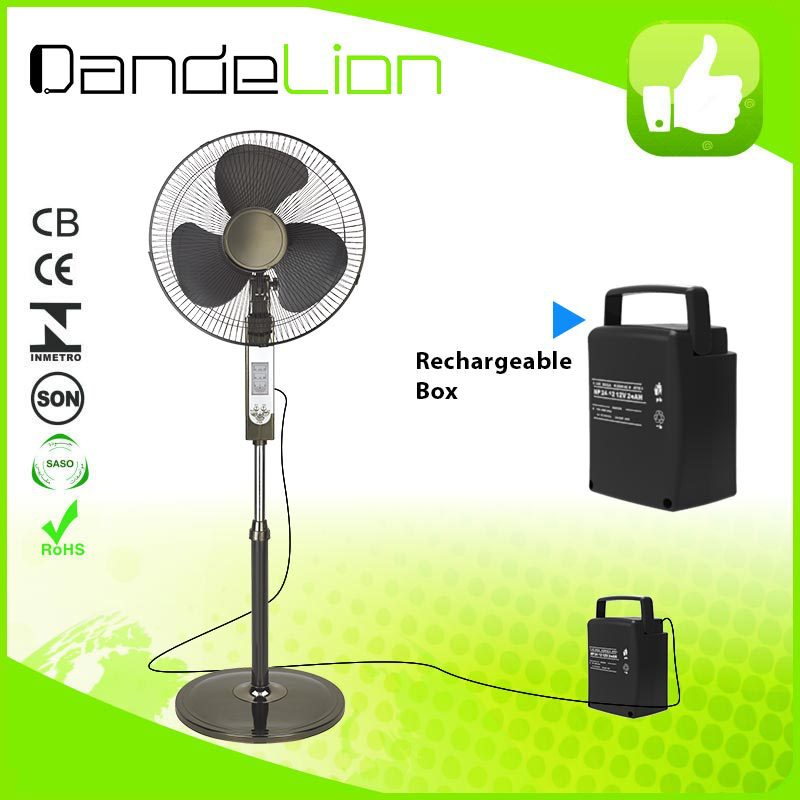 16 inch rechargeable stand fan AC/DC operated / 12v dc solar fan/electrical air conditioner 12v w