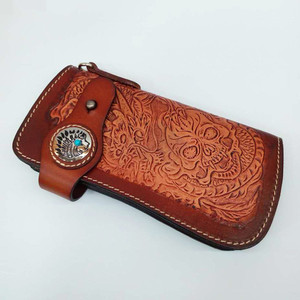 Punk Retro Carving Genuine Cow Leather Men Purse Cool Hand Wallets