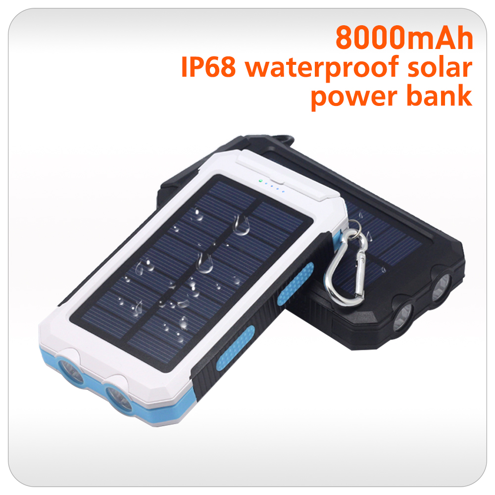 cell phones 2016 best quality solar self charge power bank 8000mah