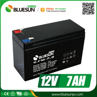 Bluesun good price 12v 7ah rechargeable lead acid battery with ISO CE ROHS Certificate