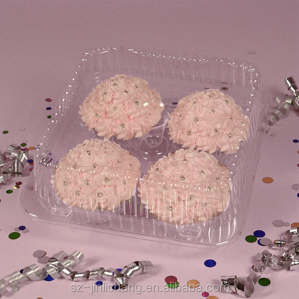 Clamshell Cheap clear transparent plastic cupcake box