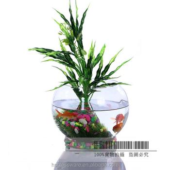 Clear desktop round glass vases fish bowl glass terrarium for Vase aquarium rond