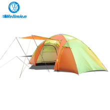 3- 4 People Orange With Yellow Facet Lodge Tent Camping Family Tent