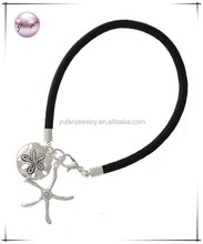 Antique Silver Tone / Black Leatherette Cord / Lead&nickel Compliant / Metal / Starfish & Shell Charm / Sea Life / Lobster Claw