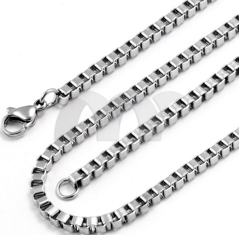 Hot sale fashion jewelry factory price 4mm box chain necklace in sterling silver plated