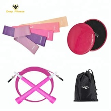 Colorful low price Gliding Sliding Discs and latex fitness resistance loop band with jump rope for Core Fitness Exercise