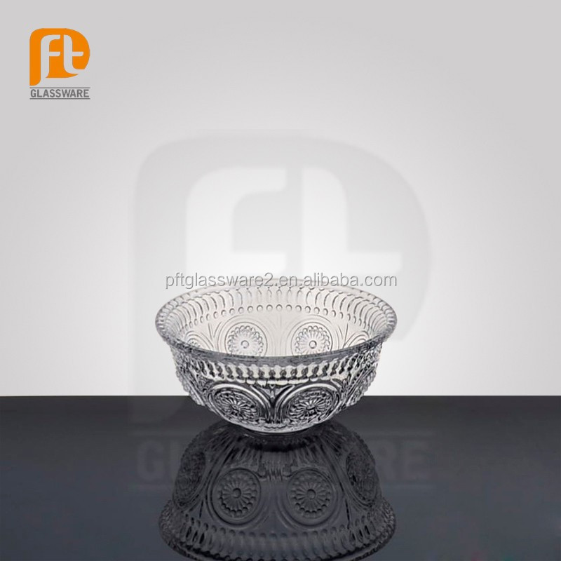 wholesale engraved clear antique salad ,fruit glass bowl