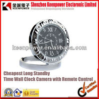 Cheapest Long Standby Time Wall Clock Camera with Remote Control